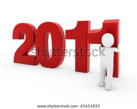 3d man new year - stock photo