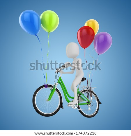 3d man on flying bicycle and colorful balloons - stock photo