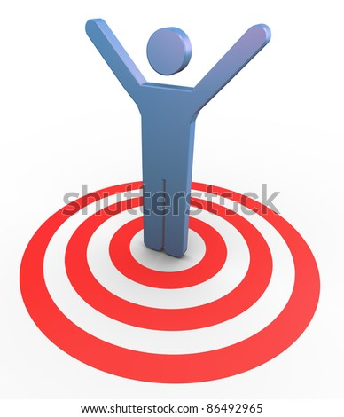 3d man on target with hands up in the air. Concept of  successful goal achievement - stock photo