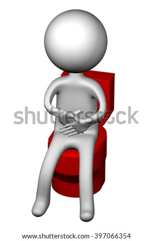 3d Man on the toilet seat, isolated on white background.