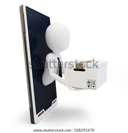3d man online shipping over generic smartphone on white background