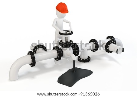 3d man operating an oil valve on white background - stock photo