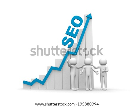 3d man - people, person and graph. SEO concept.3d render - stock photo