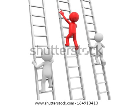 3d man, people, person climbing ladder, leader