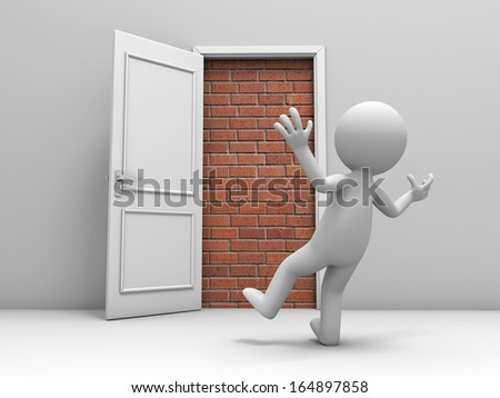 3d man, people, person in front of a locked door with bricks - stock photo