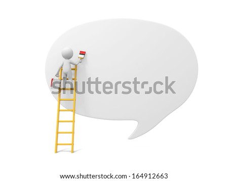 3d man, people, person with ladder and dialog