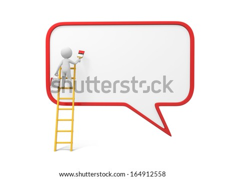3d man, people, person with ladder and speech bubble