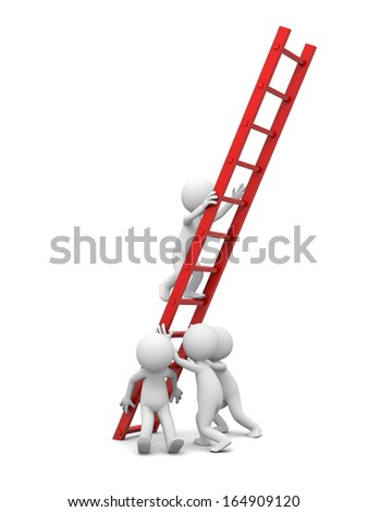 3d man, people, person with red ladder/ leader/ team work - stock photo