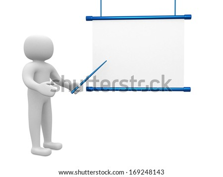 3d man - person conference, standing near a blank board