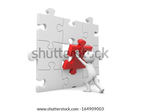 3d man, person, human assembling puzzle piece