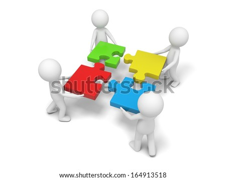 3d man, person, human putting puzzle pieces together - stock photo