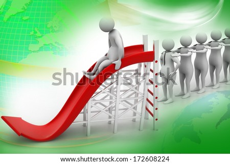 3D man playing on a arrow slide  - stock photo
