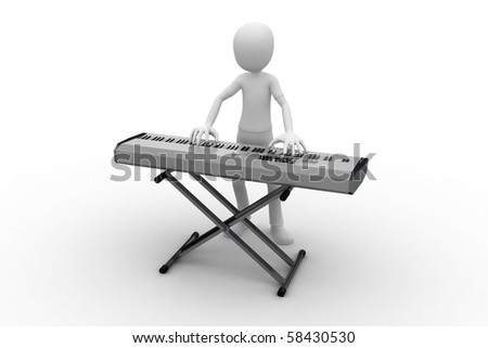 3d man playing on a keyboard