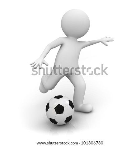 3d man playing soccer on white background - stock photo