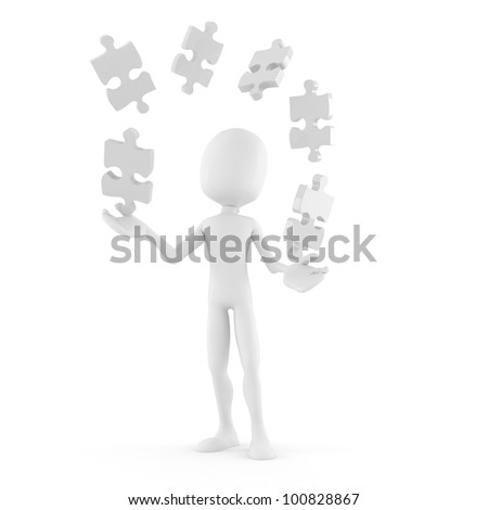 3d man playing with puzzle pieces