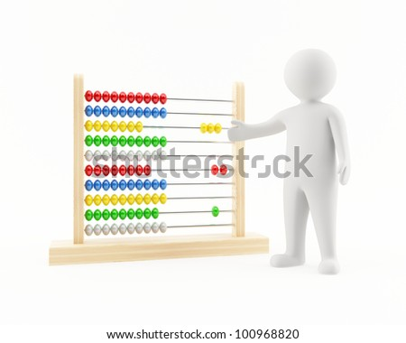 3D man pointing at an abacus - stock photo