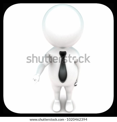 3d man pointing hand toward one direction concept in white isolated background - 3d rendering ,  top angle view