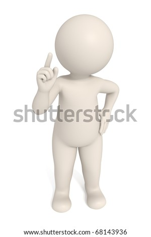 3d man pointing to pay attention - Isolated - DOF