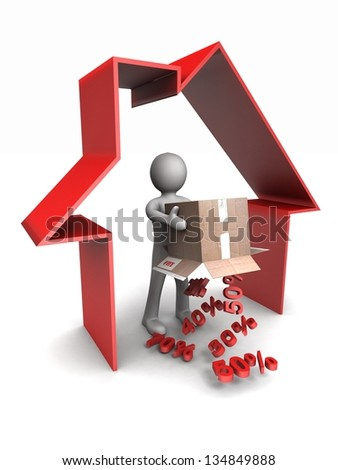 3d man pours out of the box interest icons inside the house - stock photo