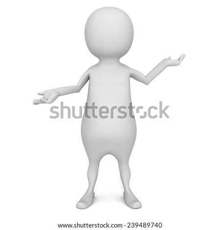 3d man presenting abstract product on white background. 3d render illustration - stock photo