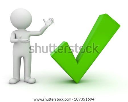 3d man presenting green check mark over white background