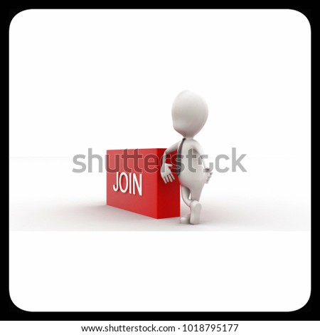 3d man presenting join text in rectangular box concept in white isolated background , side angle view