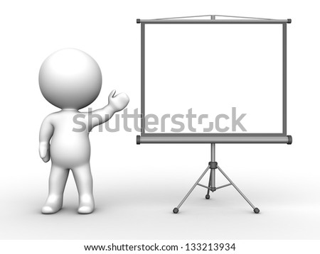 3D Man presenting Large Projector Screen