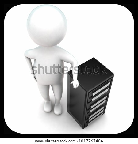 3d man presenting server concept in white isolated background - 3d rendering ,  top angle view