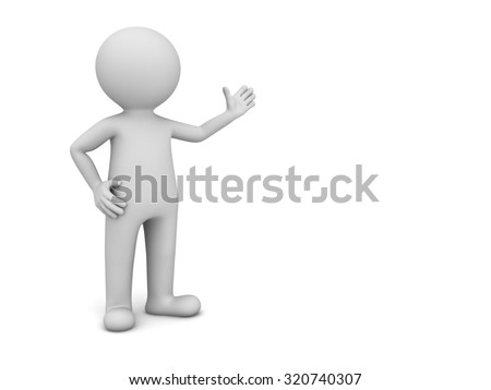3d man presenting your product isolated over white background