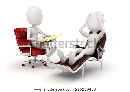 3d man psychologist and patient  - stock photo