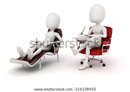 3d man psychologist and patient  - stock photo