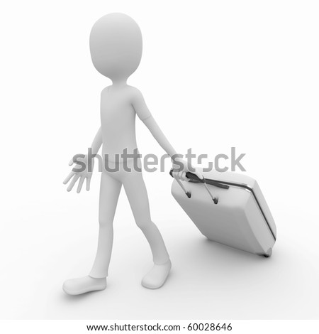 3d man pulling a white travel suitcase