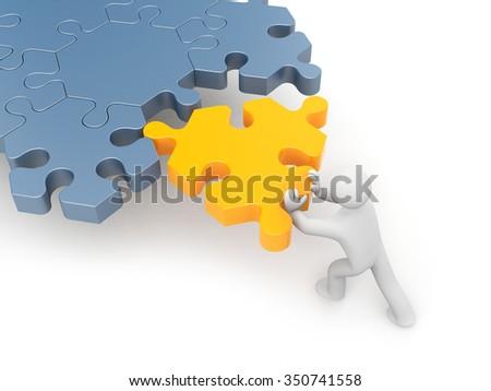 3d man push puzzle - stock photo