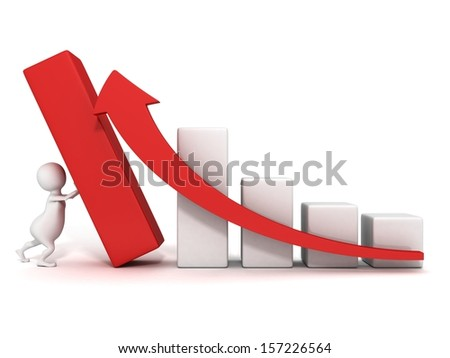 3d man push up successful business bar graph rising arrow - stock photo