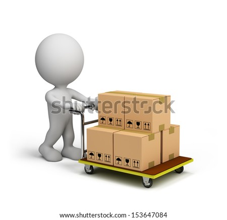 3D man pushes a trolley with boxes. 3D image. White background. - stock photo