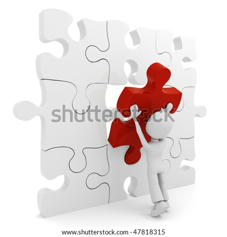 3d man pushing a puzzle piece into its place - stock photo
