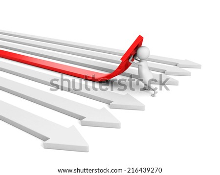 3d man pushing a red arrow up from others. success concept 3d render illustration - stock photo