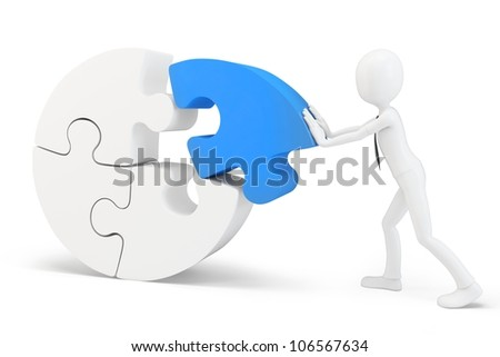 3d man pushing a round puzzle on white background - stock photo