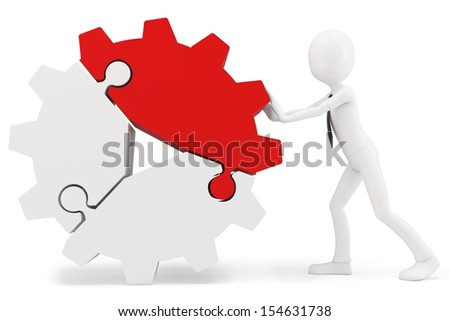 3d man pushing cogwheel made of puzzle pieces on white background - stock photo