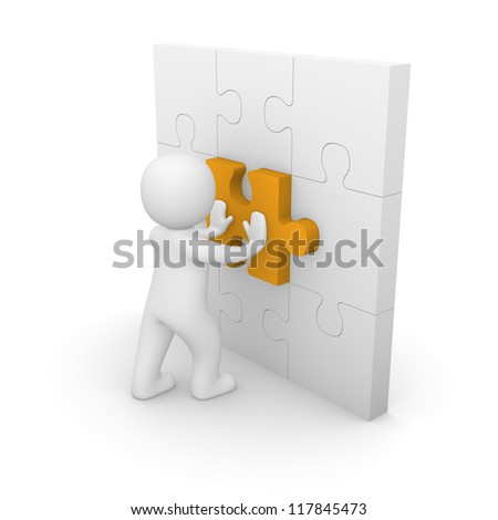 3d man pushing puzzle piece into wall. 3d rendering.