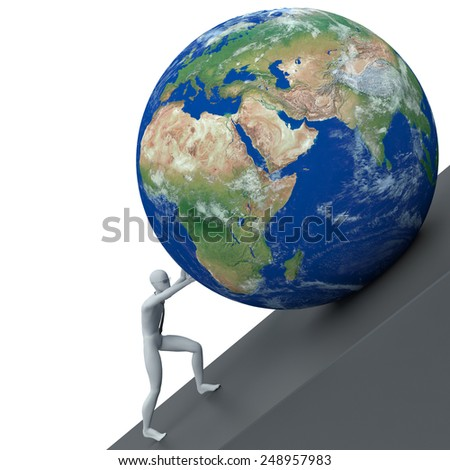 3d man pushing the planet earth