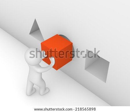 3d man putting a cube in the wrong hole - stock photo