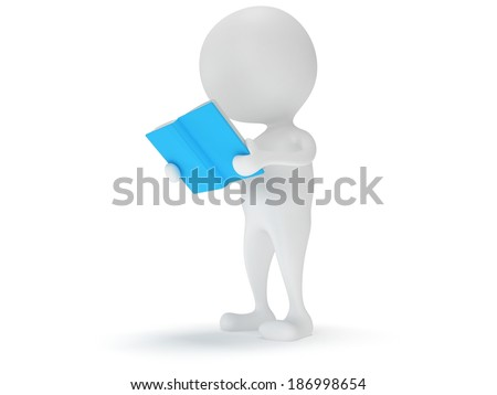 3d Man reading book on white background. Studing illustration. Back to school. Education concept.
