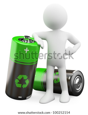 3D Man - Recyclable batteries. Rendered at high resolution on a white background with diffuse shadows. - stock photo
