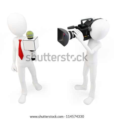 3d man reporter and cameraman crew on white background - stock photo