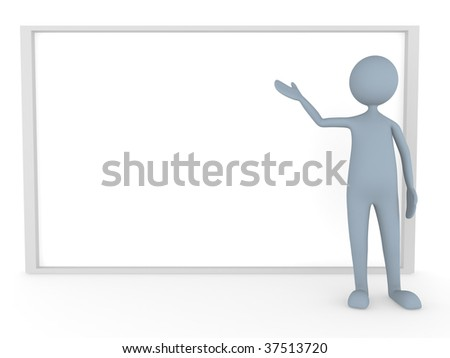 3D man represents something on big board - stock photo