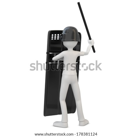 3d man riot police with shield on white background - stock photo