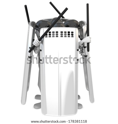 3d man riot police with shields on white background - stock photo