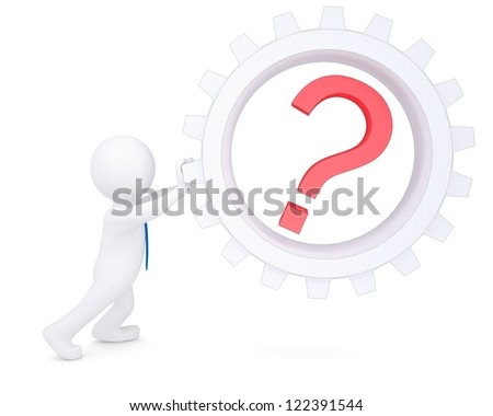 3d man rotate the pinion with a question. Isolated render on a white background - stock photo