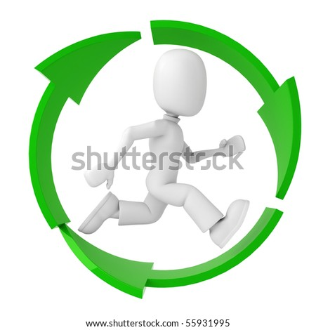 3d man running inside the recycle symbol - stock photo